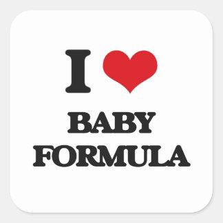 I Love Baby Formula Square Sticker