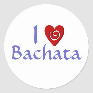 I Love Bachata Heart Latin Dancing Custom Round Stickers