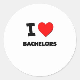 I Love Bachelors Round Sticker