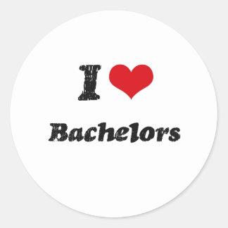 I Love BACHELORS Round Stickers