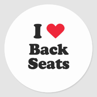 I love back seats round stickers