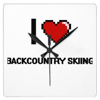 I Love Backcountry Skiing Digital Retro Design Square Wall Clocks