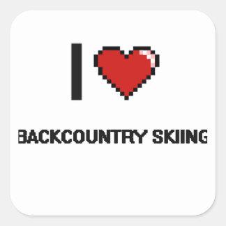 I Love Backcountry Skiing Digital Retro Design Square Sticker