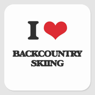 I Love Backcountry Skiing Square Sticker