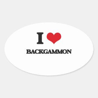 I Love Backgammon Oval Stickers