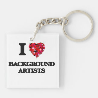 I love Background Artists Double-Sided Square Acrylic Keychain