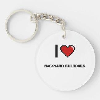 I Love Backyard Railroads Digital Retro Design Single-Sided Round Acrylic Keychain