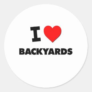 I Love Backyards Round Sticker