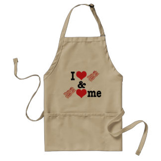 I Love Bacon and Bacon Loves Me back Adult Apron
