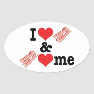 I Love Bacon and Bacon Loves Me back Oval Sticker