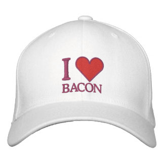 I LOVE BACON EMBROIDERED BASEBALL HAT