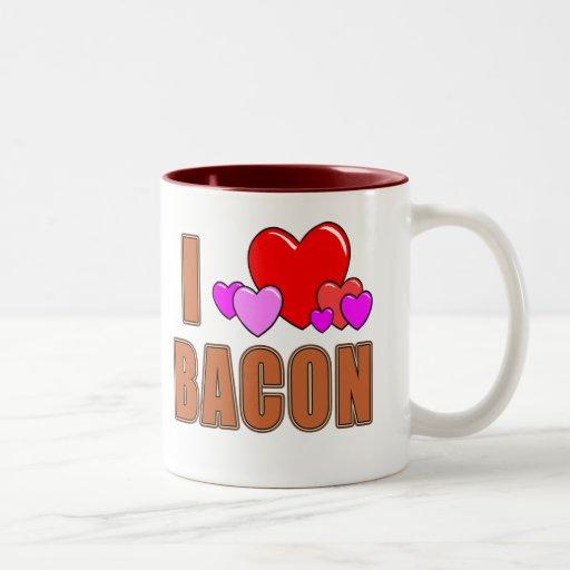 I Love Bacon I Heart Bacon Fun Bacon Design Two-Tone Coffee Mug