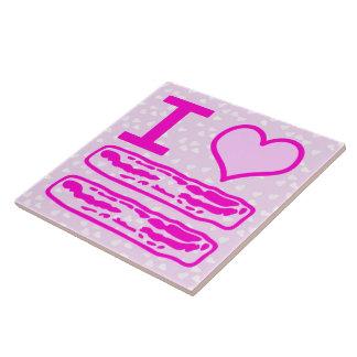 I Love Bacon in Pink! Ceramic Tile