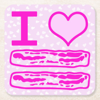 I Love Bacon in Pink! Square Paper Coaster