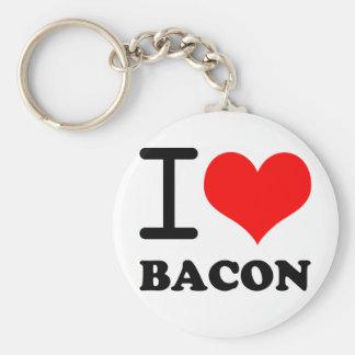 I love bacon basic round button keychain