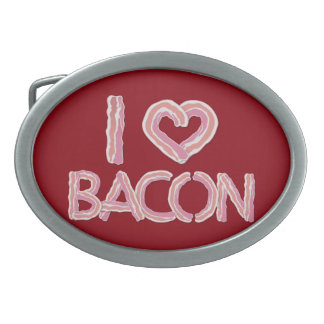 I Love Bacon Oval Belt Buckle