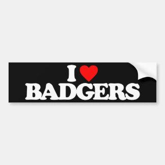 I LOVE BADGERS BUMPER STICKER