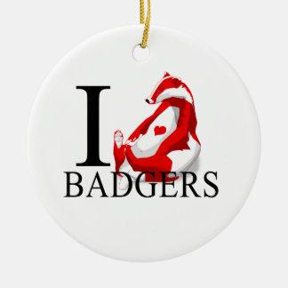 I Love Badgers Ceramic Ornament