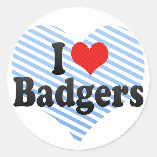 I Love Badgers Classic Round Sticker