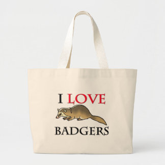 I Love Badgers Large Tote Bag