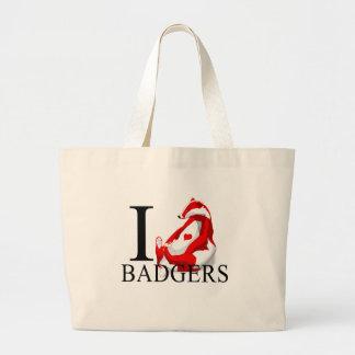 I Love Badgers Tote Bags