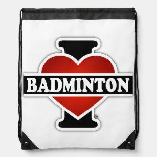 I Love Badminton Drawstring Bag
