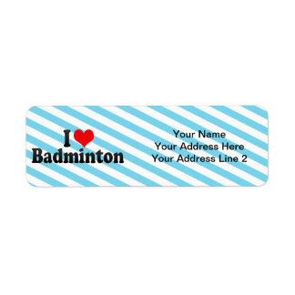 I Love Badminton Custom Return Address Labels