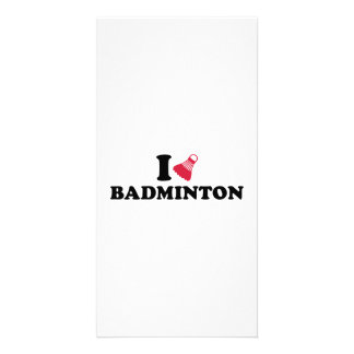I love Badminton Shuttlecock Personalized Photo Card