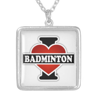 I Love Badminton Silver Plated Necklace