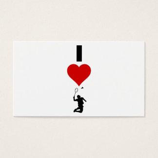 I Love Badminton (Vertical) Business Card
