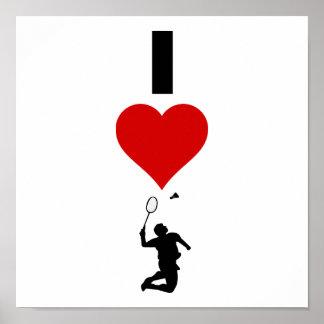 I Love Badminton (Vertical) Poster