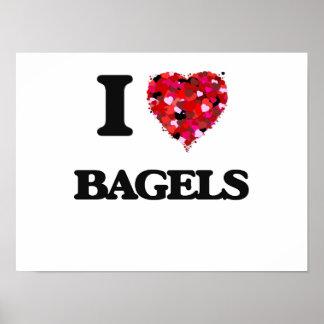 I Love Bagels food design Poster
