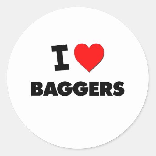 I Love Baggers Round Sticker