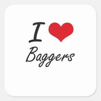 I love Baggers Square Sticker