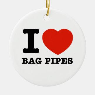 I Love bagpipes Ceramic Ornament