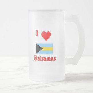 I Love Bahamas Frosted Glass Beer Mug