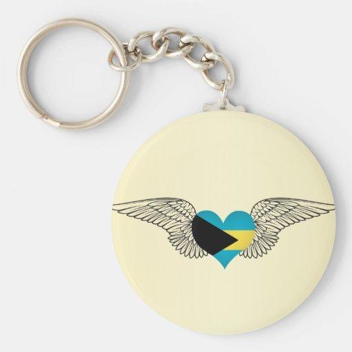 I Love Bahamas -wings Key Chain