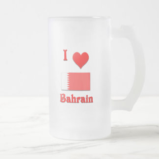 I Love Bahrain Frosted Glass Beer Mug