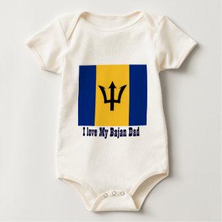 I Love Bajan dad Baby Bodysuit