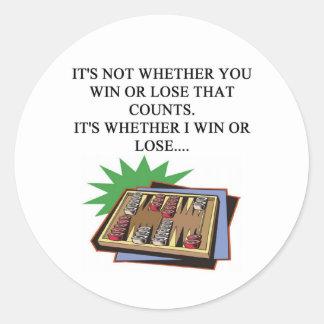 i love bakgammon player classic round sticker