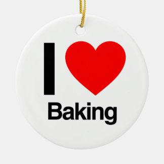 i love baking ceramic ornament