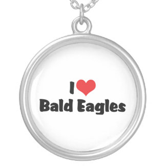 I Love Bald Eagles Round Pendant Necklace