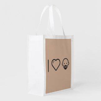 I Love Bald Men Reusable Grocery Bag