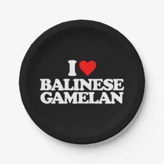 I LOVE BALINESE GAMELAN PAPER PLATE