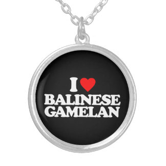 I LOVE BALINESE GAMELAN SILVER PLATED NECKLACE