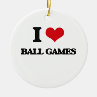 I Love Ball Games Double-Sided Ceramic Round Christmas Ornament