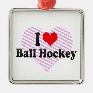I love Ball Hockey Christmas Tree Ornament