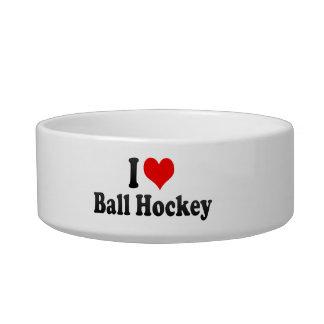 I love Ball Hockey Pet Water Bowl