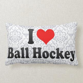 I love Ball Hockey Throw Pillows