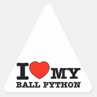 I Love ball python Triangle Sticker
